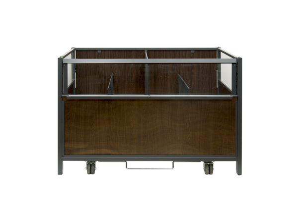 Vending table dark wood front