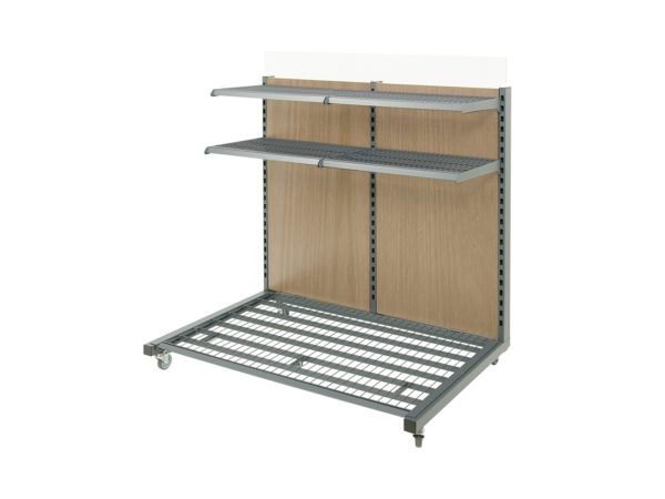 Retail Shelf with wood panel