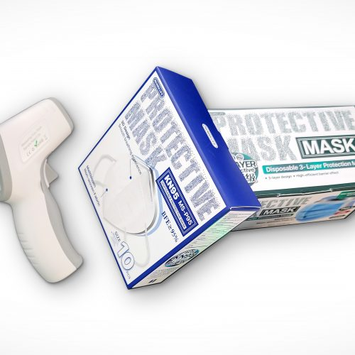 clinical thermometer + facemask
